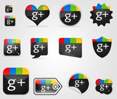 Набор иконок Google+