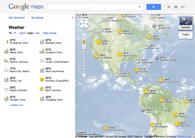 Google Maps погода